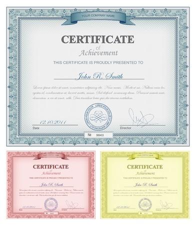 Vector illustratie van veelkleurige gedetailleerde certificaten