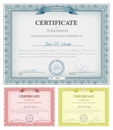 certificate template: Vector illustration of multicolored detailed certificates