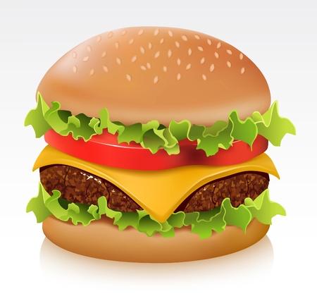 hamburguesa: Deliciosa hamburguesa jugosa Vectores