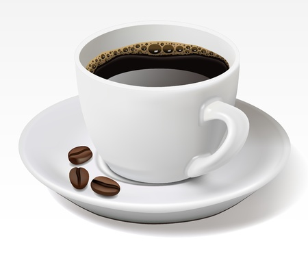 kroes: Kopje zwarte koffie geà ¯ soleerd op wit Stock Illustratie