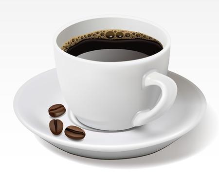 tasse: Tasse de caf� noir isol� sur blanc