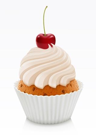 cupcakes isolated: Vanilla cupcake with cherry