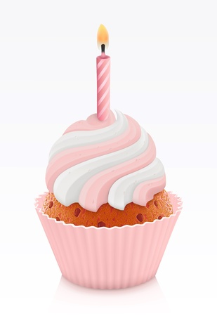 cupcakes isolated: Pink birthday cupcake with burning candle