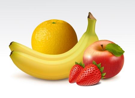 Ripe fruits: orange, bananas, strawberries and apple