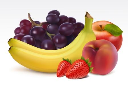 Fresh fruits: grape, bananas, strawberries, apple and peach