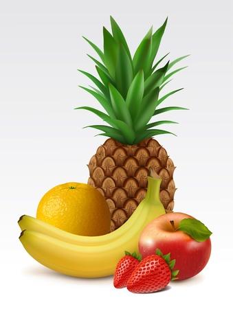 pineapples: Frutas tropicales: pi�a, pl�tano, naranja, fresas y manzana