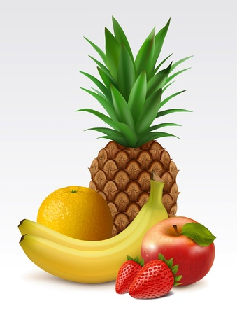 pineapple juice: Tropical fruits: pineapple, bananas, orange, strawberries and apple Illustration