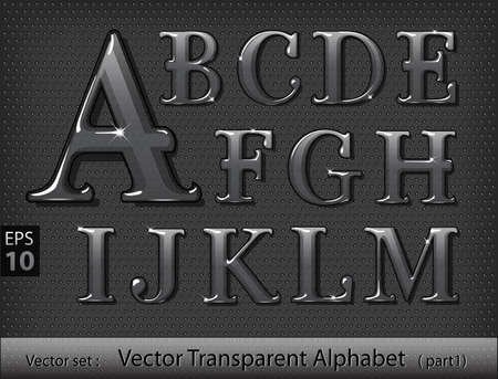 Vector illustration of glass alphabet (part1) Illustration
