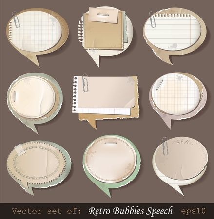 Vector illustration of retro paper bubbles speech Vector