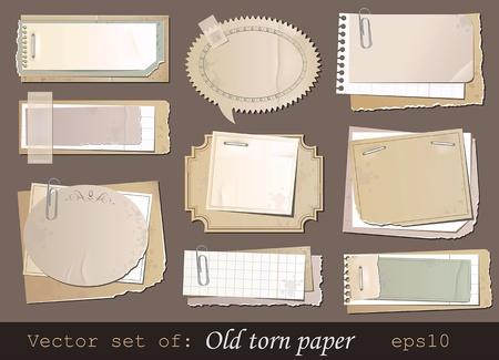 Vector set de papier déchiré ancienne