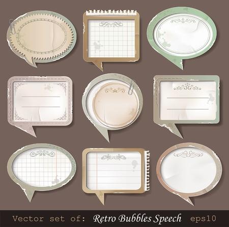 scotch tape: Vector illustration of retro paper bubbles speech