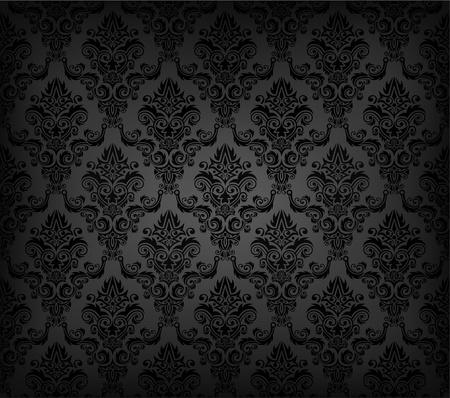 damast: Vector illustartion von schwarzen nahtlosen Tapetenmuster