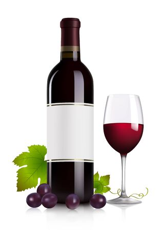 red wine pouring: Red wine bottle, glass and grape