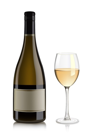 winetasting: White wine bottle and glass