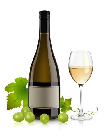 붓는 것: 화이트 와인 병, 유리 및 포도