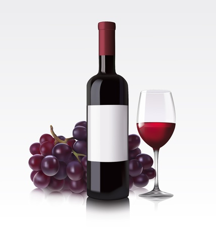 glass with red wine: Red wine bottle, glass and grape