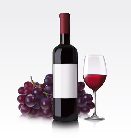 wijn en spijzen: Rode wijn fles, glas en druiven Stock Illustratie