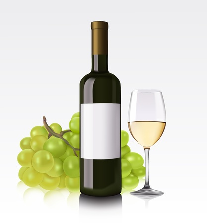 red wine pouring: White wine bottle, glass and grape Illustration