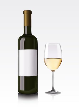 white wine bottle: Botella de vino blanco y vidrio