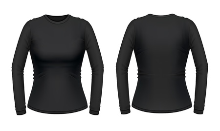 Black long sleeve female shirt Vector