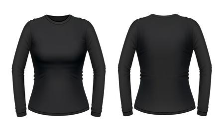 Black long sleeve female shirt Vector