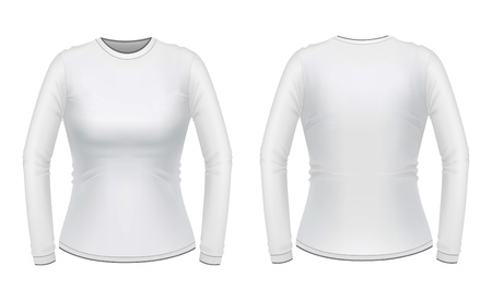 White long sleeve female shirt Vector