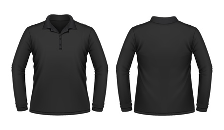 polo t shirt: Black long sleeve men shirt Illustration