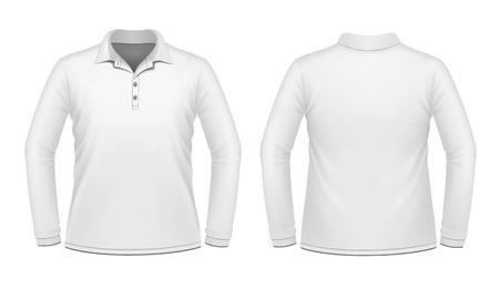 ポロ: 長い袖の白い男性のシャツ