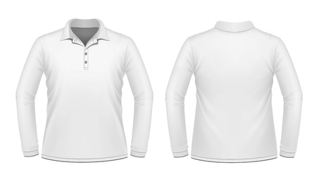 White long sleeve men shirt Vector