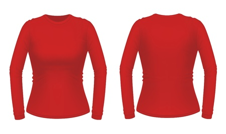Red long sleeve female shirt Vector