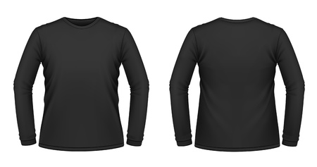 long sleeves: Vector illustration of black long-sleeved T-shirt  Illustration