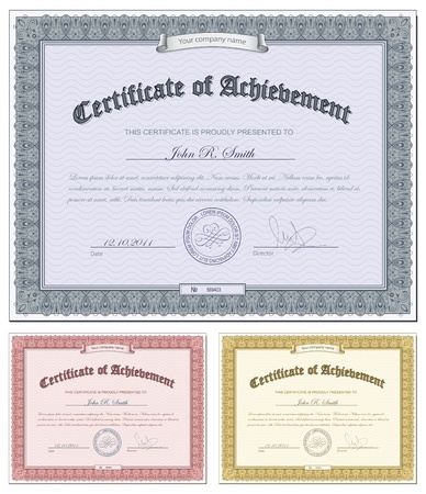 Vector illustration of multicolored certificates Vector