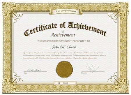 certificado: Certificado detallado de Oro Vectores