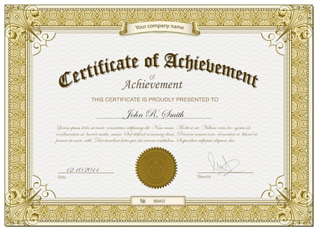 certificate: Gold detailed certificate Illustration