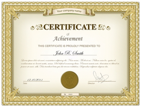certificate template: Gold detailed certificate Illustration