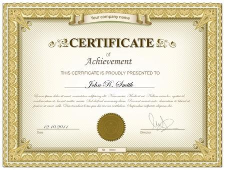 sjabloon: Gold gedetailleerde certificaat