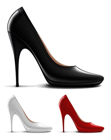 black leather: Multicolored high heel shoes Illustration