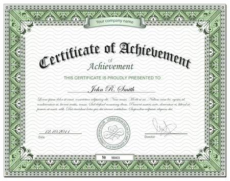 certificate template: Detailed certificate