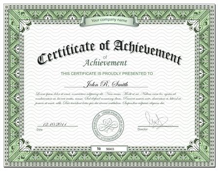 realizować: Szczegółowy certyfikat Ilustracja