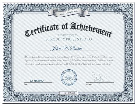 illustration de certificat détaillé
