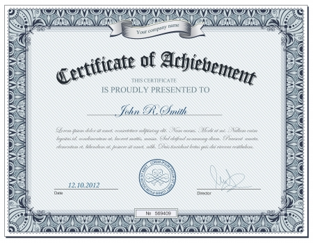certificate template: illustration of detailed certificate