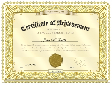 stock certificate: illustration of gold detailed certificate