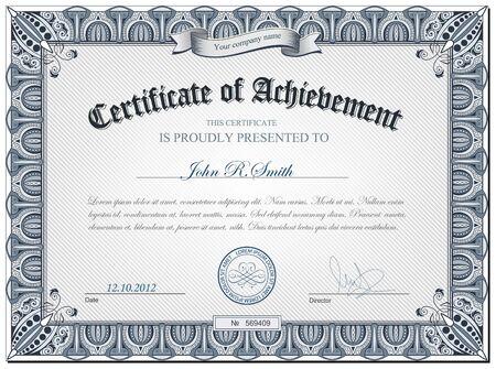 certificate frame: illustration of detailed certificate