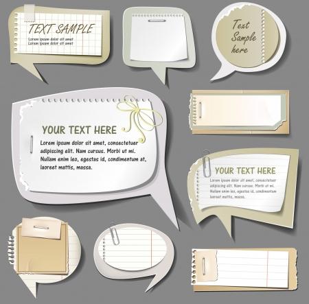cartone strappato: illustrazione di bolle di discorso retro della carta