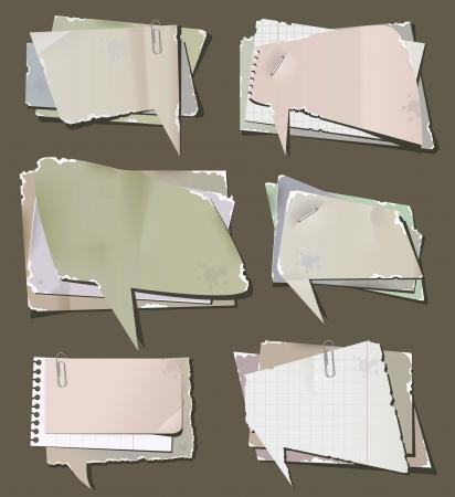 illustration of retro paper bubbles speech