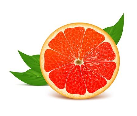 Juicy fresh half of grapefruit with leaves
