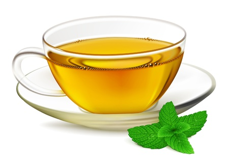 peppermint: Cup of tea and mint leaf