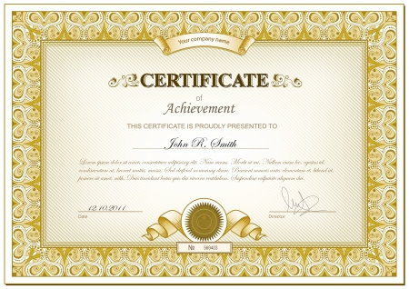 certificate template: Vector illustration of gold detailed cerificate