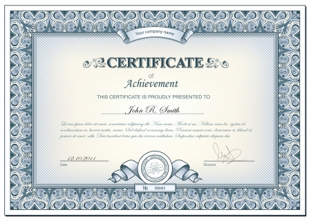 certificates: illustration of detailed cerificate