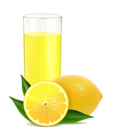 Vector illustration of fresh lemon with juice Çizim